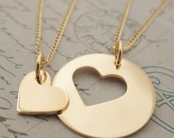 Gold Filled Mother Daughter Jewelry - Custom Heart Necklace Set in 14K GF - Jewelry Gifts for Mom and Daughter