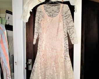 Vtg 80s Peach Lace Layer Dress sz 16 Long Sleeve Flapper Look