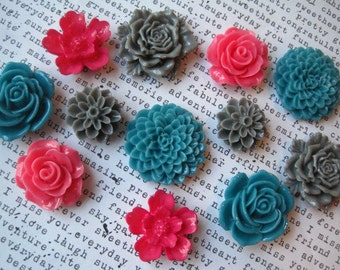 Strong Magnets, 12 pc Flower Magnets, Dark Pink, Gray and Teal Kitchen Decor, Housewarming Gifts, Wedding Favors