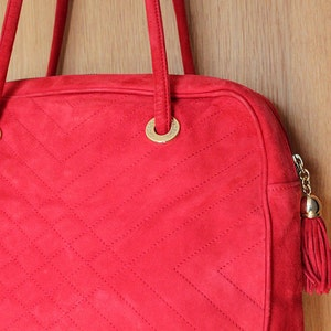 Escada bag / Italian Bag / Red Bag / Suede Bag/ Italian Escada Bag