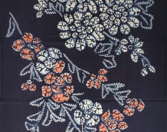 New Japanese cotton Noren Curtain cloth - Indigo shibori flower and foliage