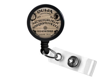 Ouija Board Photo Glass / Bottle Cap Retractable ID Badge Reel