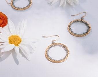 Graduation Gift for Her | Labradorite Earring | Statement Earring | Labradorite Statement Earring | Gold Hoop Earring | Gemstone Earring