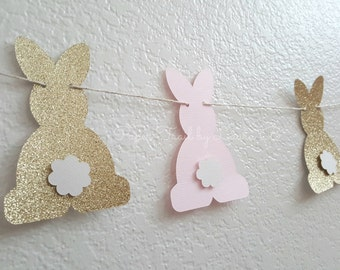 Bunny Party Garland in Pink and Gold for 1st Birthday.  First Birthday Decorations.  ONE High Chair Banner.  Some Bunny is One!