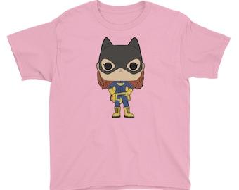 Bat Girl Superhero Youth Short Sleeve T-Shirt
