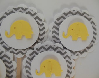 Elephant Cupcake Toppers - Yellow and Gray Chevron - Gender Neutral Baby Showers - Child Birthday Party Decorations - Set of 6