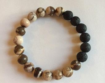 Brown zebra jasper and lava stone, essential oil diffuser bracelet