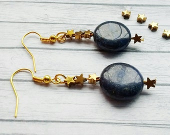Lapis Lazuli Earrings, Blue Earrings, Gold Hematite Earrings, Gold Star Earrings, Dark Blue Earrings, Hematite Earrings, Blue Bead Earrings