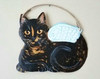 Tortoiseshell Cat Angel Art - Cat Wall Art - Original Cat Art - Garden Art - Cat Sign - Cat Folk Art - Cat Memorial - Cat Yard Art