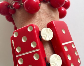 Bakelite Catalin Red Beads and Dominoes on elastic Sold separately 185.00 each