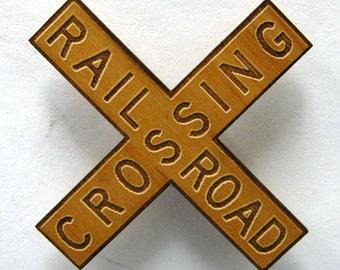 Railroad Crossing X Sign Wooden Fridge Magnet - Small