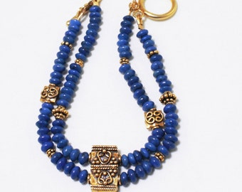 Blue Lapis Lazuli Gold Bracelet Genuine Blue Lapis Bracelet Blue Gemstone Bracelet Blue Lapis Lazuli Jewelry GEM-B-177-Lapis