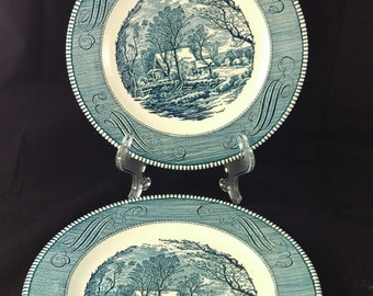 Vintage Currier and Ives, Old Grist Mill Plates