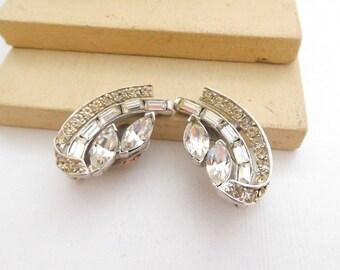 Vintage 1950s Baguette Marquise Rhinestone Silver Ear Climber Clip Earrings J31