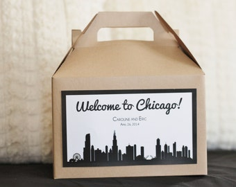 Set 10 Wedding Welcome Box -Gable Box with custom CHICAGO skyline label