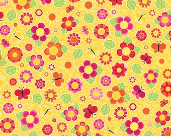 Anna's Garden Tossed Flowers by Patrick Lose Fabrics - Buttercup 63801-2430715 Quilt Fabric