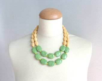 multi strand statement Green yellow necklace
