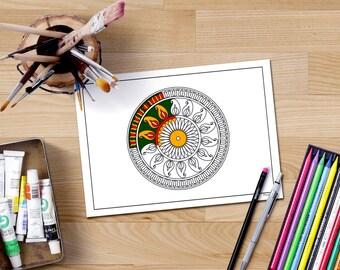 Mandala coloring page for adults hand drawn flower mandala