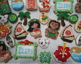 Moana inspired cookies Hawaiian luau party