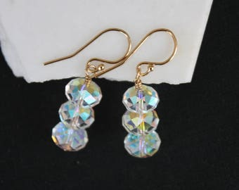 Swarovski Crystal Earrings l Drop Earrings with Clear AB Crystal from Swarovski l Gift for Her