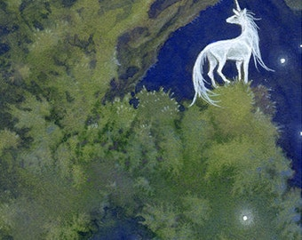 "Limited Edition Archival ACEO Print ""Ancient"" unicorn nature forest dark fantasy art"