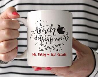 Teacher Gifts Personalized Teacher Mug Teacher Gift Teacher Appreciation Gift Funny Teacher Mug I Teach What's Your Superpower Red Mug