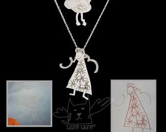 Colliers en argent sterling en couches de dessins de vos enfants, unique en son genre bijoux personnalisé, cadeau parfait sur-mesure