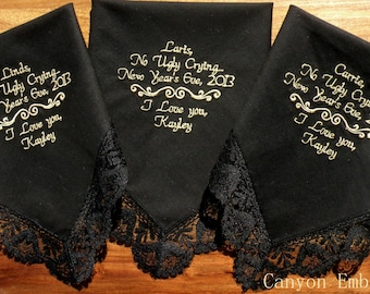 Gifts for mom dad and mother inlaw Embroidered Wedding Handkercheifs, Set of Three, Beautiful Black Handkerchiefs, By Canyon Embroidery