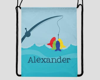 Personalized Bag for Kids - Colorful Fish on a Line - Drawstring Backpack - Swim Bag - Sports Bag - Pool Bag - Custom Bag with Child's Name