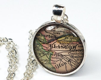 Glasgow Map Necklace- Vintage Glasgow Map Pendant Jewelry from an Antique 1908 Atlas, Scotland Map Necklace, Glasgow Pendant Necklace