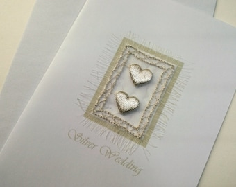 Silver Wedding, HEARTS Greetings card, Embroidered, Free UK postage, Textile onto paper, Blank for your own greeting.