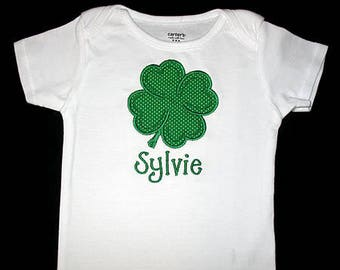 Custom Personalized Applique St Patricks Day SHAMROCK and NAME Bodysuit or Shirt - Green Polka Dot
