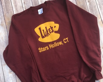 Luke's Diner Sweatshirt - Gilmore Girls Sweatshirt - Stars Hollow - Lorelai – Rory - Luke's Diner - Coffee - Gilmore Girls