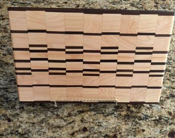 Ski-tracks | Striped Wooden Cutting Board | Maple & Walnut | Handmade Wood Cutting Board Multi-Color