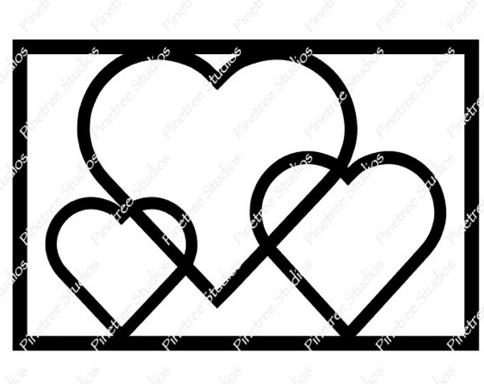 Stained Glass Hearts SVG Digital Download / Cuttable / Clip Art / Stencil / Silhouette / Cricut / Printable / Color Book / Decal