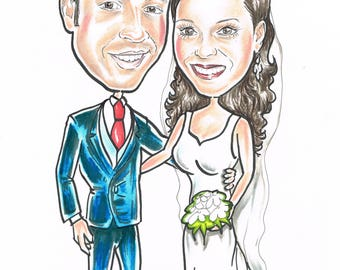 Couple Personalised caricature from photo,gift for weddings, anniversary and engagement