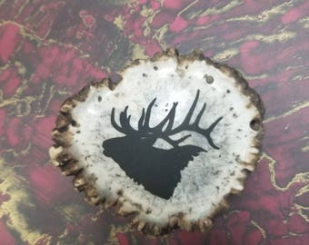 Genuine Elk Antler Belt Buckle - Stained/Marbled Antler with Laser-Engraved Elk