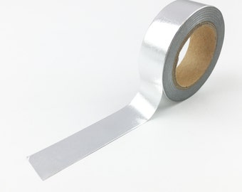 Silver Foil Washi Tape // 15mm // Paper Tape // BBBsupplies {CR-W-F024}