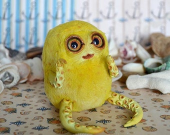 Yellow Tentacle art doll art toy handmade ooak Fantasy Creature