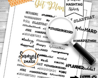 Word Stickers, Hashtag Quote Stickers, Printable Planner Stickers, Hashtag Stickers, Item Planner Stickers, Stickers For Planners