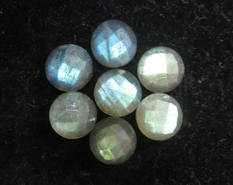 10mm LABRADORITE Faceted Round checker cut flat gemstone.. have lots of gorgeous.. AAA quality beautiful GRAY with blue green sheen