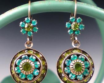 Teal & Olive Green Rhinestone Earrings Blue Zircon Olivine Rhinestone Drop Earrings