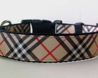 Plaid Dog Collar - Adjustable Dog Collar - Tan, Black, and Red Plaid