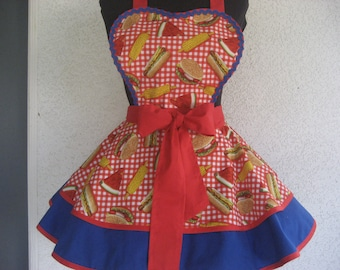 Red White & Blue Gingham Pinup BBQ Apron