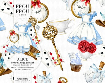 Alice in Wonderland Clipart Alice Clip Art Watercolor Alice Adventures Mad Hatter Tea Party Eat Me Drink Me White Rabbit Key Illustration