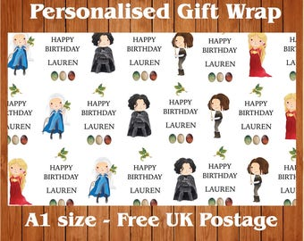 Personalised Game of Thrones inspired Birthday Wrapping Paper & 2 tags