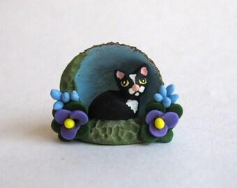 Miniature Tuxedo Cat Hideawayin Acorn Cap  OOAK by C. Rohal