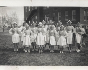 vintage photo Little Girls Dressed up in Dutch Girl Costume