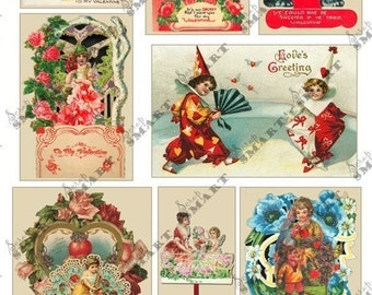 8 Vintage Victorian Valentines - Collage Sheet Digital Download - AVALE1
