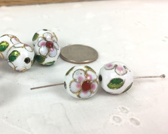 White Cloisonne beads, Floral cloisonne beads, 12mm cloisonne beads